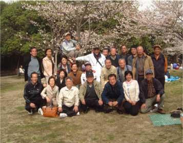 恒例の明石公園での花見